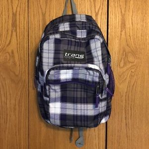 Trans by Jansport Purple and White Plaid Backpack
